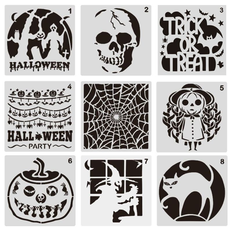 9 Pcs Plastic Halloween Themes Stencils Scale Template Set Pumpkin Skeleton Witch Bat,Ghost DIY Art Drawing Painting Spraying
