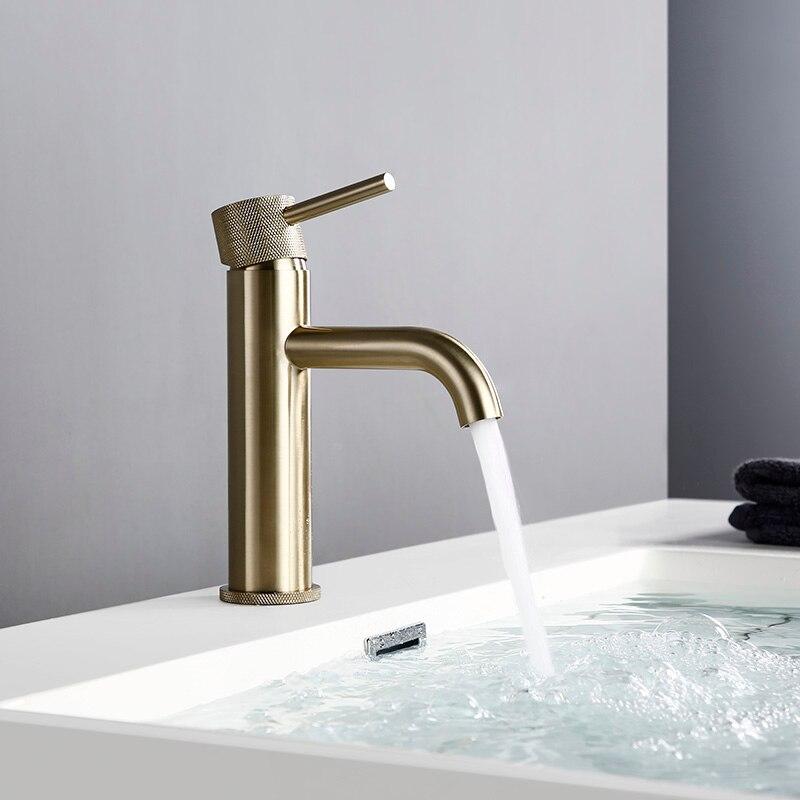 Bagnolux водосберегающий матовый золотой кран для ванной комнаты с одним отверстием для горячей и холодной воды с круглым распылителем латунны...
