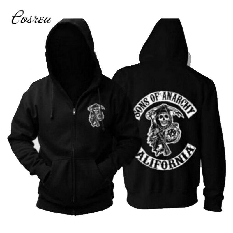 TV Sons Of Anarchy Hoodie Sweatshirts Cosplay Costume Mens Zipper Samcro Jax Warm Coat Jacket Autumn Winter Hoodies Clothing