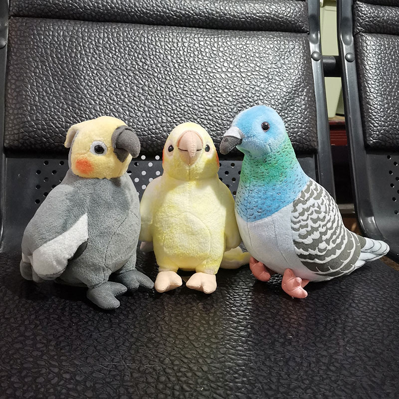 Super Mini Cockatiel Plush Toys Soft Real Life Parrot Stuffed Animals Toy Reastic Birds Stuffed Dolls Gifts For Kids