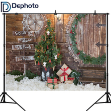 Dephoto Winter Backdrops Christmas Tree Snow Gift Fairy Tale Wooden House Kid Pine Backgrounds Photocall For Photo Studio