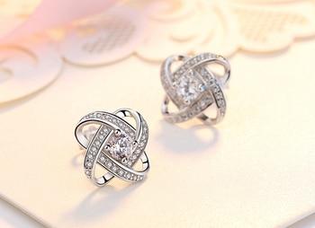 Beautiful Flower Zirconia Diamond Stud Earring Silver Earrings Products under $30 Brand Name: yanhui