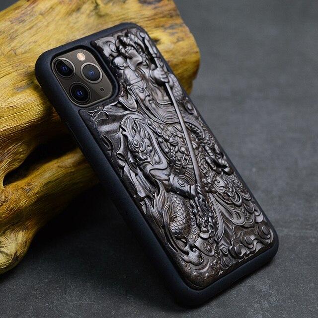 Luxus Geschnitzt 3D Stereo Ebenholz Holz Fall für iPhone 11 iPhone11 TPU Voll Schutzhülle Zurück Abdeckung Telefon Fällen Für iPhone 11 Pro Max