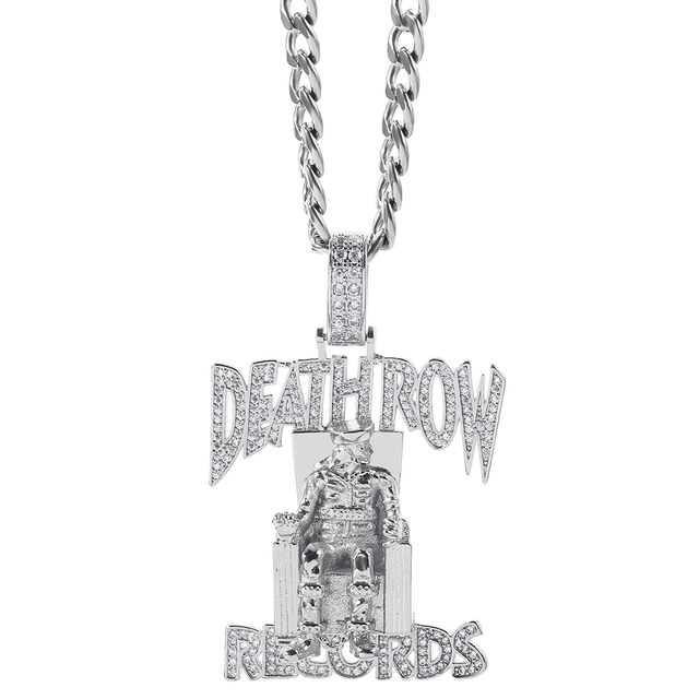 Hip hop death row records Pendant Necklace Men Link Chain Gold Silver Color Iced Out Bling Rhinestone Streetwear Party Jewelry