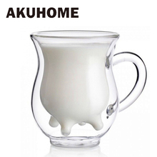 Creative Milk Glass Cups Double Layer Heat-resistant Cute Cow Mug Cup Drink Water Juice Coffee Mugs Container