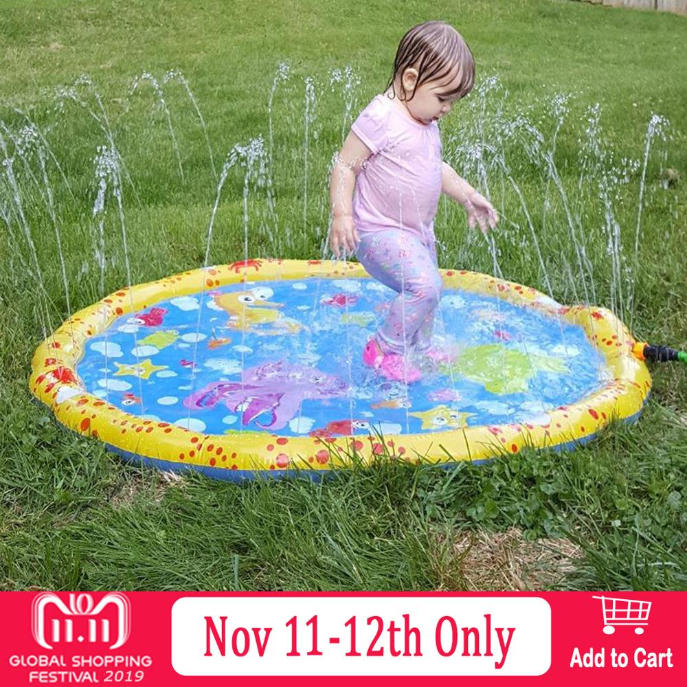 Kids 100cm Diameter Cartoon Inflatable Summer Outdoor Sprinkle Splash Water Playmat Pool Beach Water Spray Mat Game Pad Toy