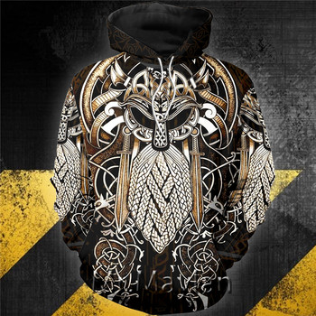 3D Viking Odin Special Viking Tattoo Hoodie Men/women Hipster Streetwear Outfit Spring Boys Hiphop Hood Sweatshirts Tops Clothes 1