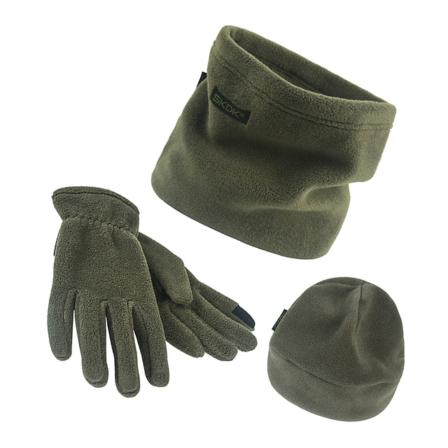 3pcs Thickened Fleece Hat Scarf Beanie Cap Gloves Set Men Autumn Winter Warm Camping Portable Outdoor Elements Dropshipping 1