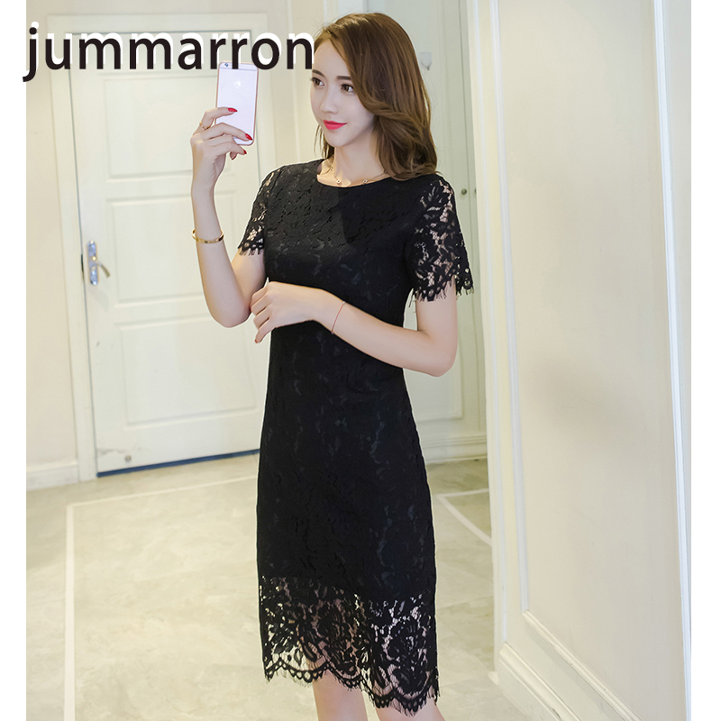 jummarron 2020 summer new style women celebrity temperament slim fit hip <font><b>dress</b></font> short sleeve medium length shou thin lace <font><b>dress</b></font> image