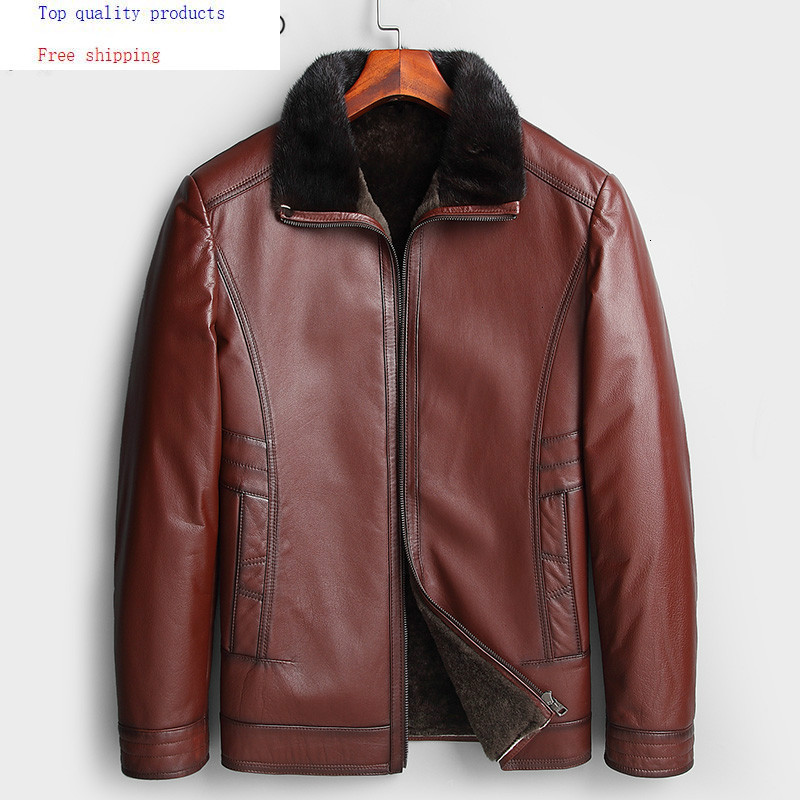 Winter Genuine Leather Jacket Men 100% Cow Leather Coat Sheep Fur Lining Mink Fur Collar Shearling Jackets KL16876