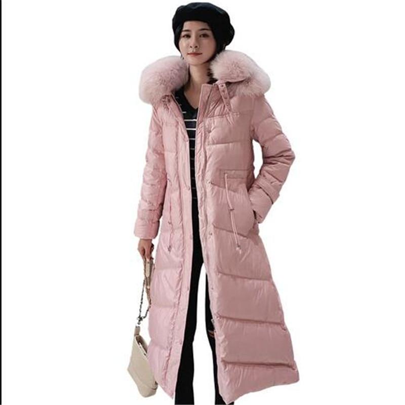 2019 Female Thicken Warm Winter   Down     Coat   Women Large Real Natural Fox Fur White Duck   Down   Parka Hooded Winter Jacket Women