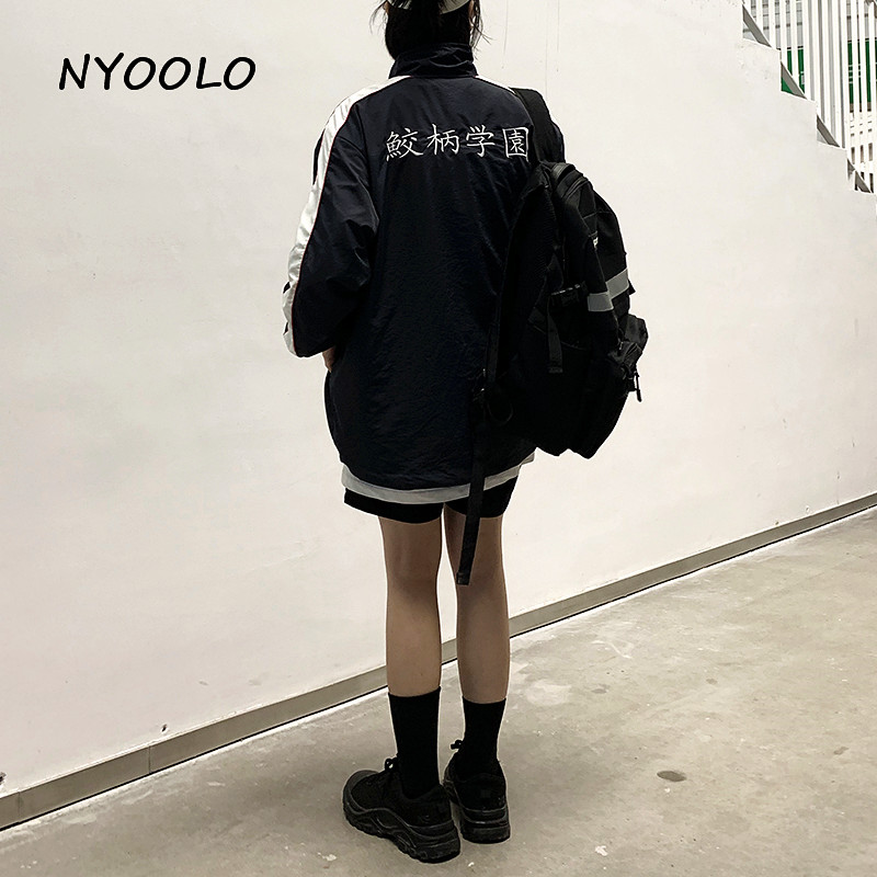 NYOOLO Preppy Style Letters Embroidery Patchwork Coats Autumn Streetwear Long Sleeve Zipper Jacket Women Men Clothing Outerwear