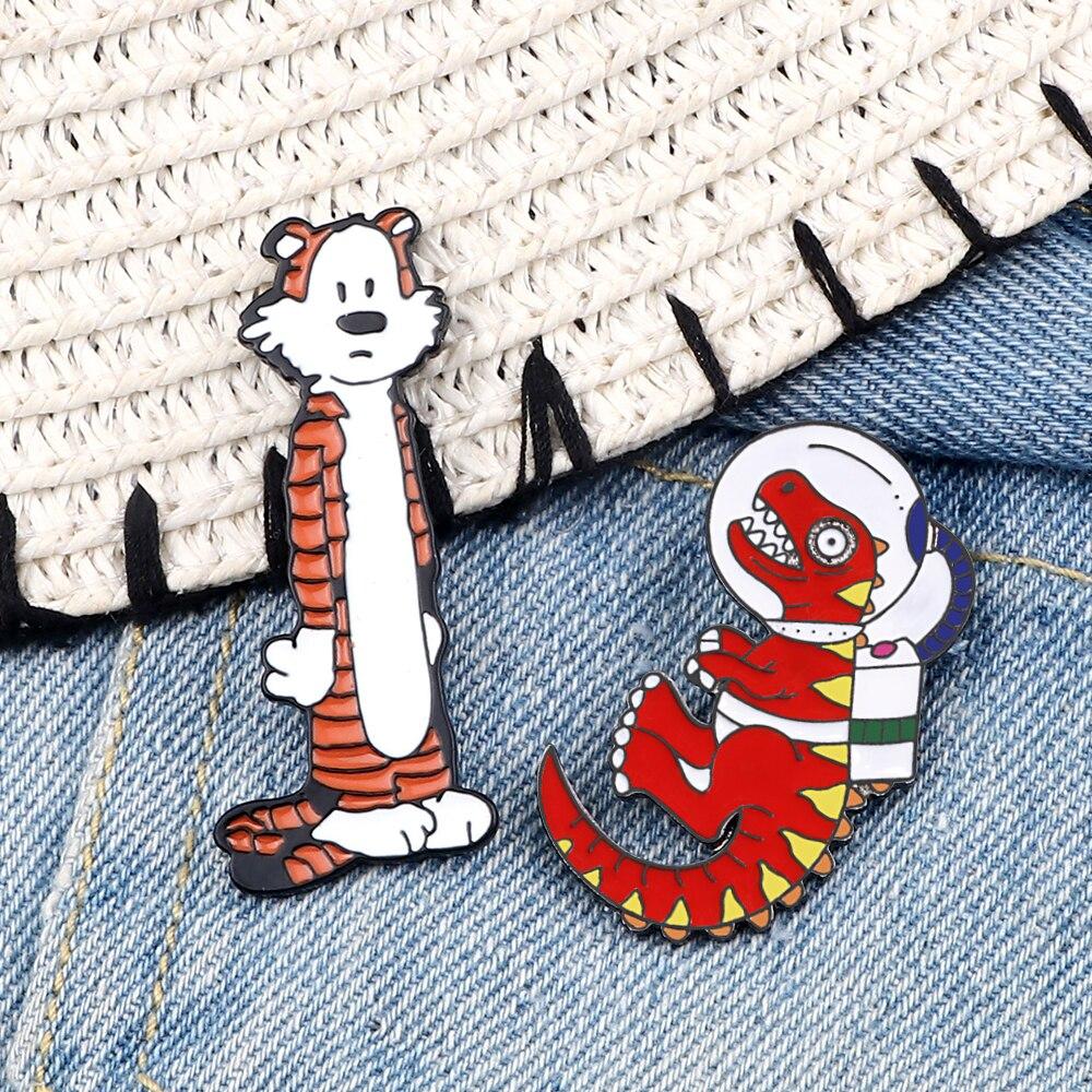 Cartoon Dinosaur Tiger Pins Colorful Dinosaur Standing Tiger Badges Unisex Jewelry Animals Metal Enamel Brooches Cute Funny Pin