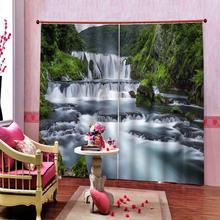 """Пользовательские шторы """"Водопад"""", живописные, пейзажи цифровая фотопечать затемненные 3D шторы для гостиной постельные принадлежности номер отель"""
