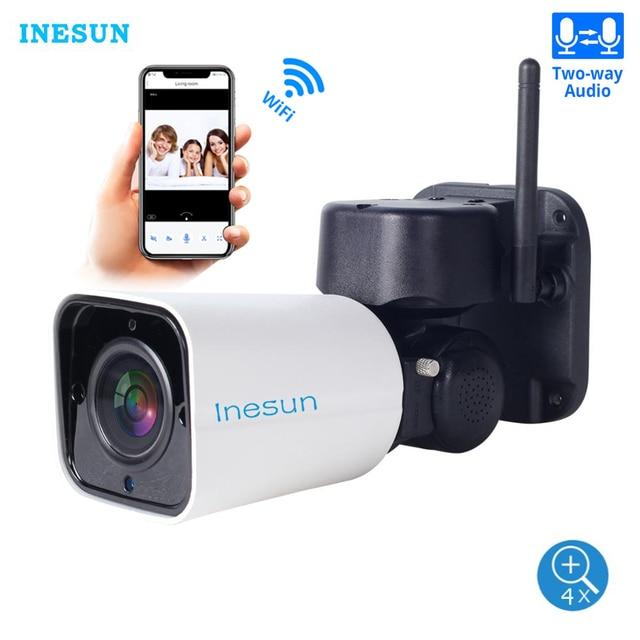 Inesun 屋外無線 Lan IP セキュリティカメラ 1080P IP カメラ WiFi 4X ズーム PTZ カメラ 120ft 赤外線ナイトビジョン 2 双方向オーディオ 128 グラム SD カード