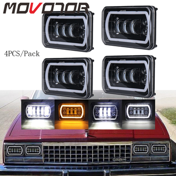 4x6 Car Led Headlight Square Light White Halo DRL Amber Turn Signal Sealed Beam Replacement For Trucks Ford Mustang H4 plug