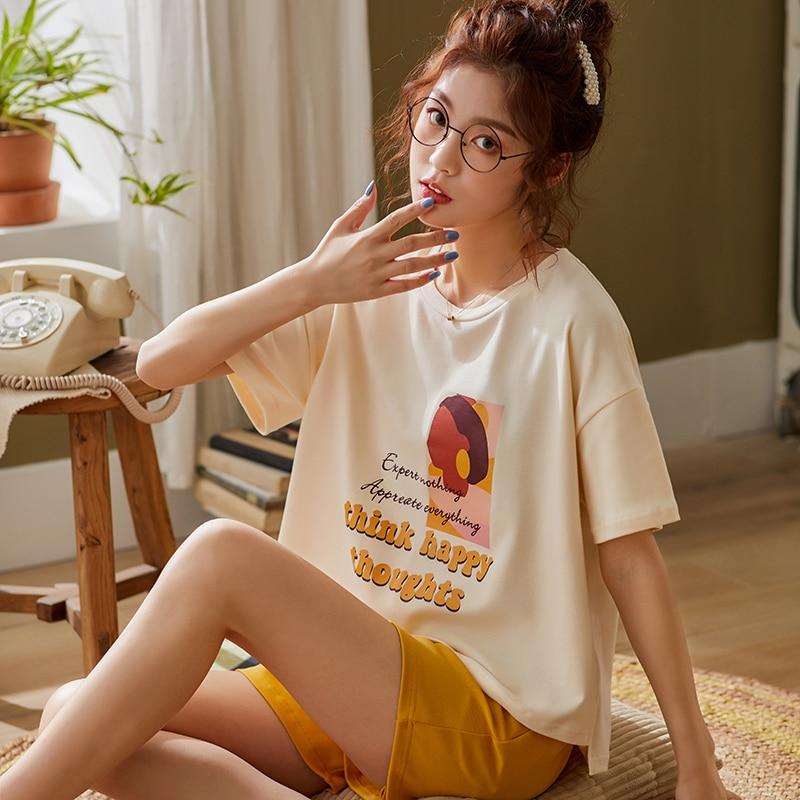 BZEL Orange Sleepwear Sets Ladies Pajamas Suit New Spring Homewear Cotton Pijamas Cute Cartoon Pyjamas  For Women Soft Nightwear