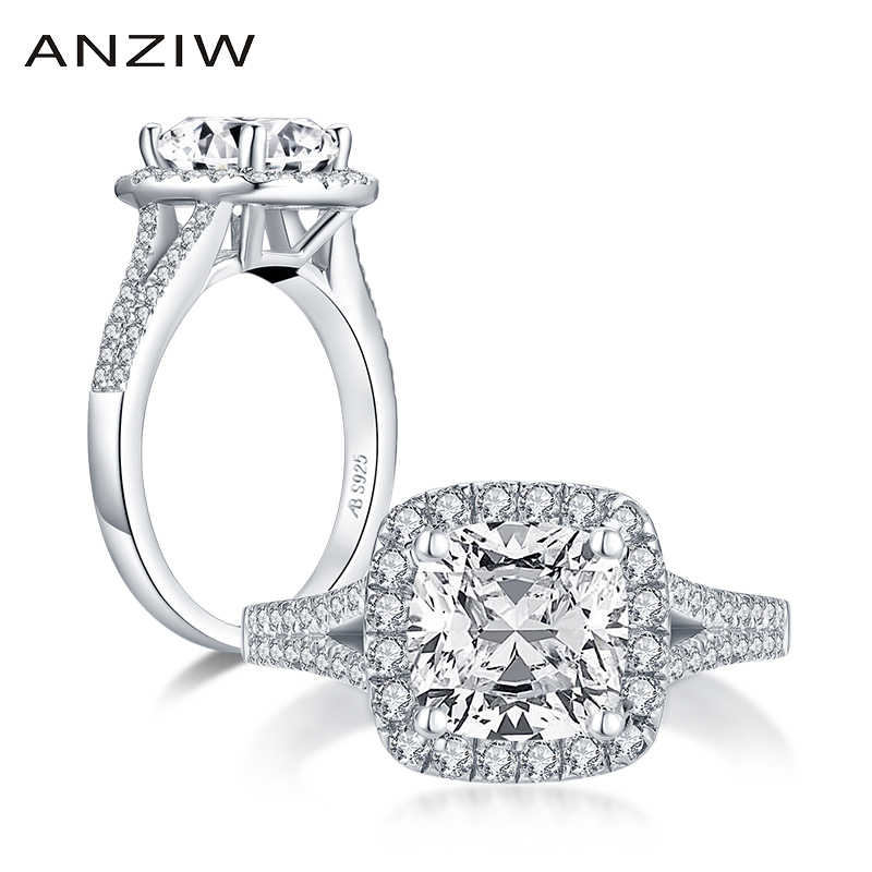 AINUOSHI Mode 925 Sterling Silber 2,0 CT Cushion Cut Halo Ringe Engagement Simulierte Diamant Hochzeit Silber Ringe Schmuck