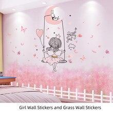 Autocollants muraux en vinyle d'herbe rose et de fille, papier peint décoratif pour maison d'enfants, bricolage