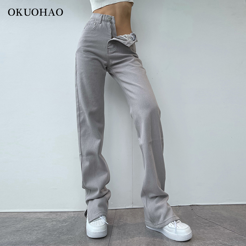 2021 Flared Jeans Women High Waist Mom Jeans Denim Trousers Female Streetwear White Vintage Clothes Boot Cut Wide Oversize Pants 3