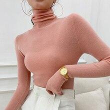 Women 100% Cashmere Wool Pullover 2021 New Arrival Turtleneck Elasticity Sweater Female Warm Soft Basic Jumper Solid Slim Femme