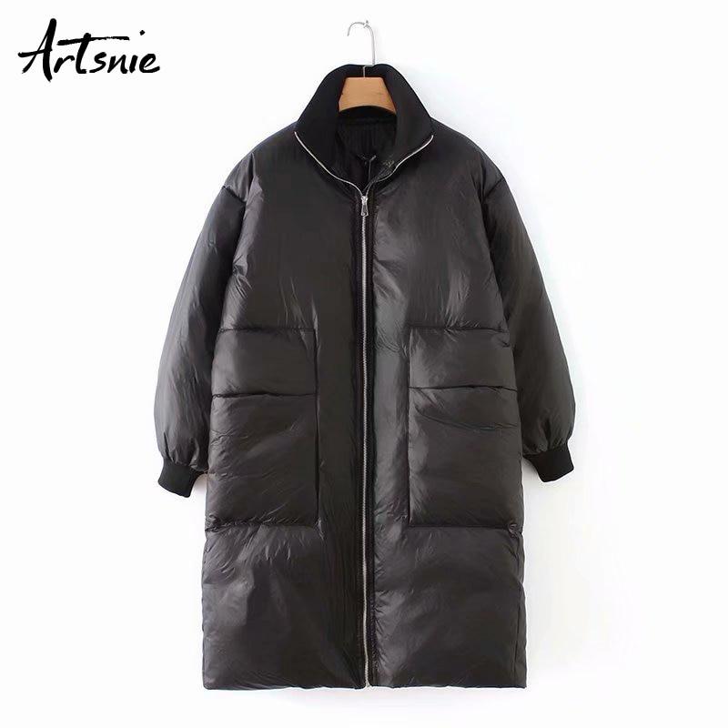 Artsnie streetwear casual long   parkas   women autumn winter double pockets zipper thick warm turtleneck girls coats jacket mujer