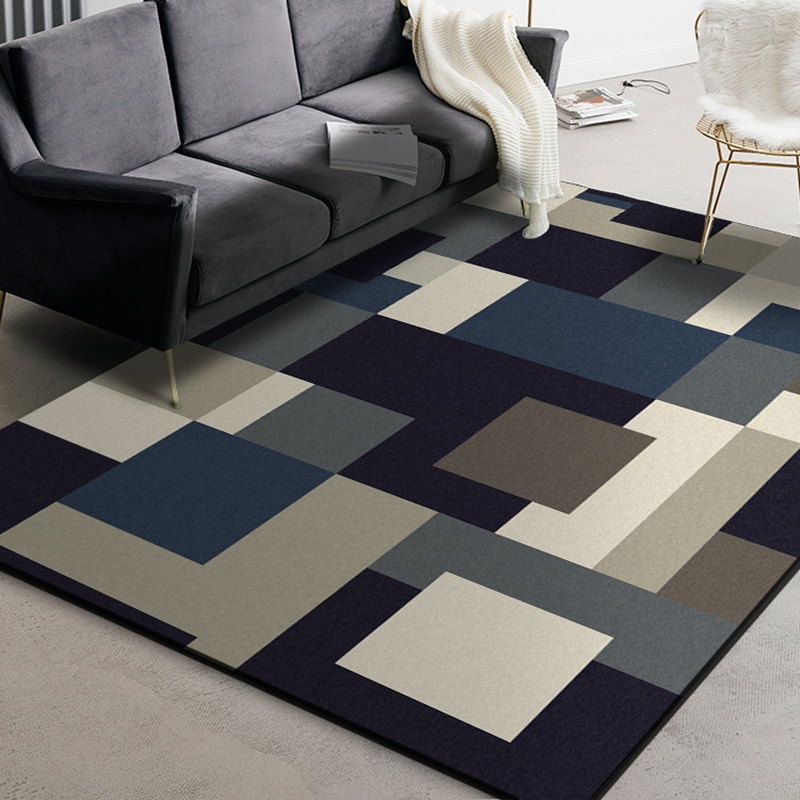 Retro Geometric Living Room Large Carpets Bedroom Study Bedside Area Rug Modern Blue Black Plaid Home Decor Sofa Chair Floor Mat