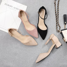 Pointed Toe Square Heel Sandals Women Shoes 2021 New Summer Girl Sexy Fashion Buckle Flock Leather Casual Ladies Shoes O0025