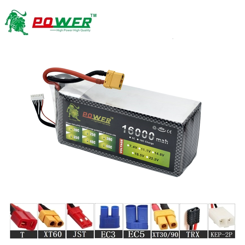 High Power 22.2v 16000maH 45C Lipo Batterry For RC Drone Cars Boats Quodcopter Spare Part 6s 10000mah 22.2v Rechargeable battery image