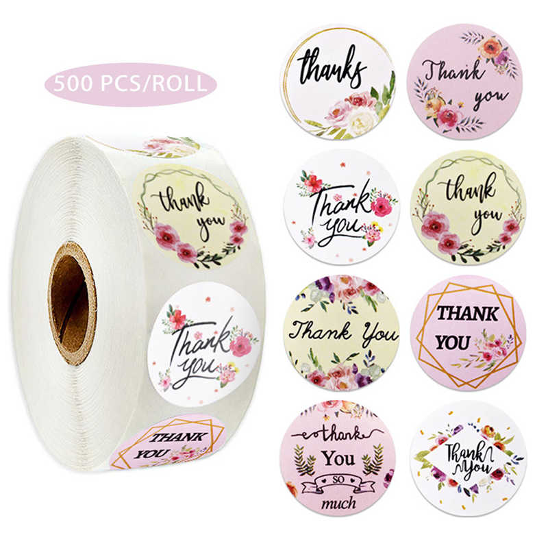 500 قطعة/لفة 38 أنماط الزهور القلب شكرا لك ملصقات بمادة لاصقة سكرابوكينغ القرطاسية كعكة البسكويت الخبز ختم تسميات هدية