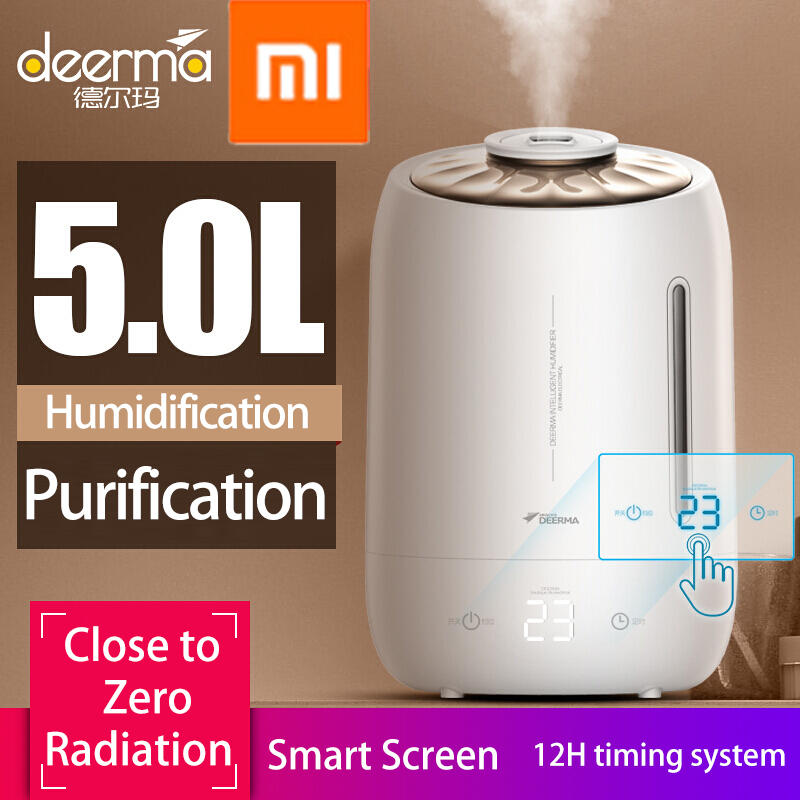 Xiaomi Deerma Humidifiers 5L Large Mute Ultrasound Capacity Sterilization Humidifier Air Aroma Diffuser Purifier Mist Maker