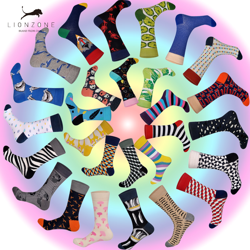 Streetwear Happy Socks Men Brand Funny 28 Colors British Style Designer Happy Socks Cotton Long Chaussettes Homme Fantaisie