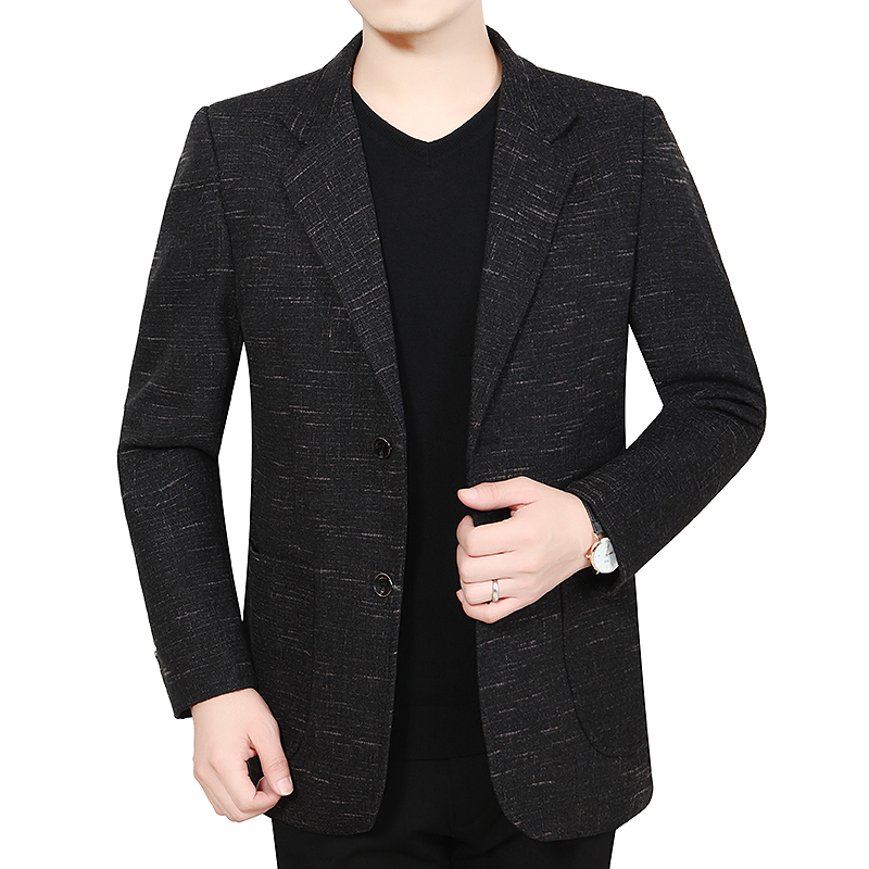 Autumn Winter Man Slim Fit Blazer Dark Red Black Blue Notched Collar Design Jacket Suits Men Smart Business Casual Outfit Suit