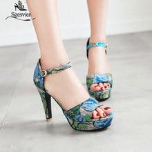 Women Shoes Sandals Platform Thin Heels Big-Size Peep-Toe SGESVIER B59 31-46 Slingbacks