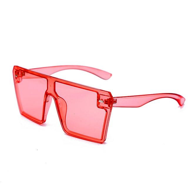 Oversized Square Sunglasses Women 2021 Luxury Brand Fashion Flat Top Red Black Clear Lens One Piece Men Gafas Shade Mirror UV400 17