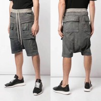 High Quality Fashion Mens Drop Crotch Harem Pants Drawstring Pockets Hip Hop Loose Shorts Man Casual Knee Length Baggy Shorts