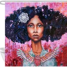 Афро Африканский Американский черный девушка акварельные черные волосы хип поп женщина леди Ванна занавес
