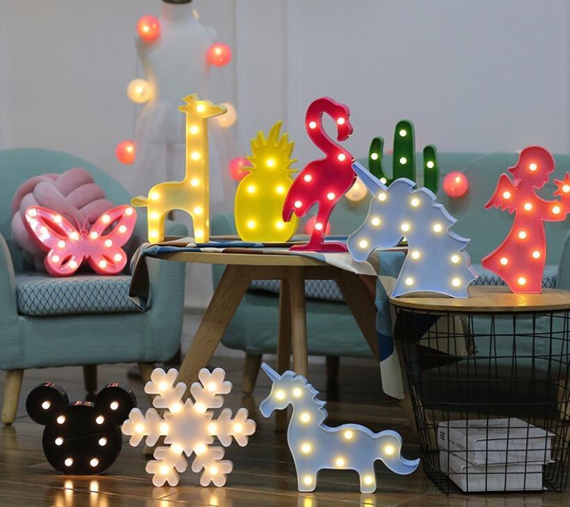 3D LED Nightlight Flamingo Cute Unicorn LED Night Lights Sign Marquise Cactus Pineapple Star Lighting Decoration Wall Lamp