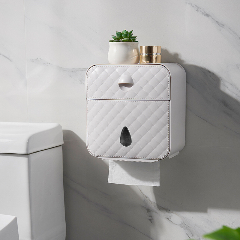 Wall Mount Paper Holder Waterproof Toilet Roll Holder Shelf Tissue Box Creative Paper Tray Tube Storage Box Bathroom Organizer