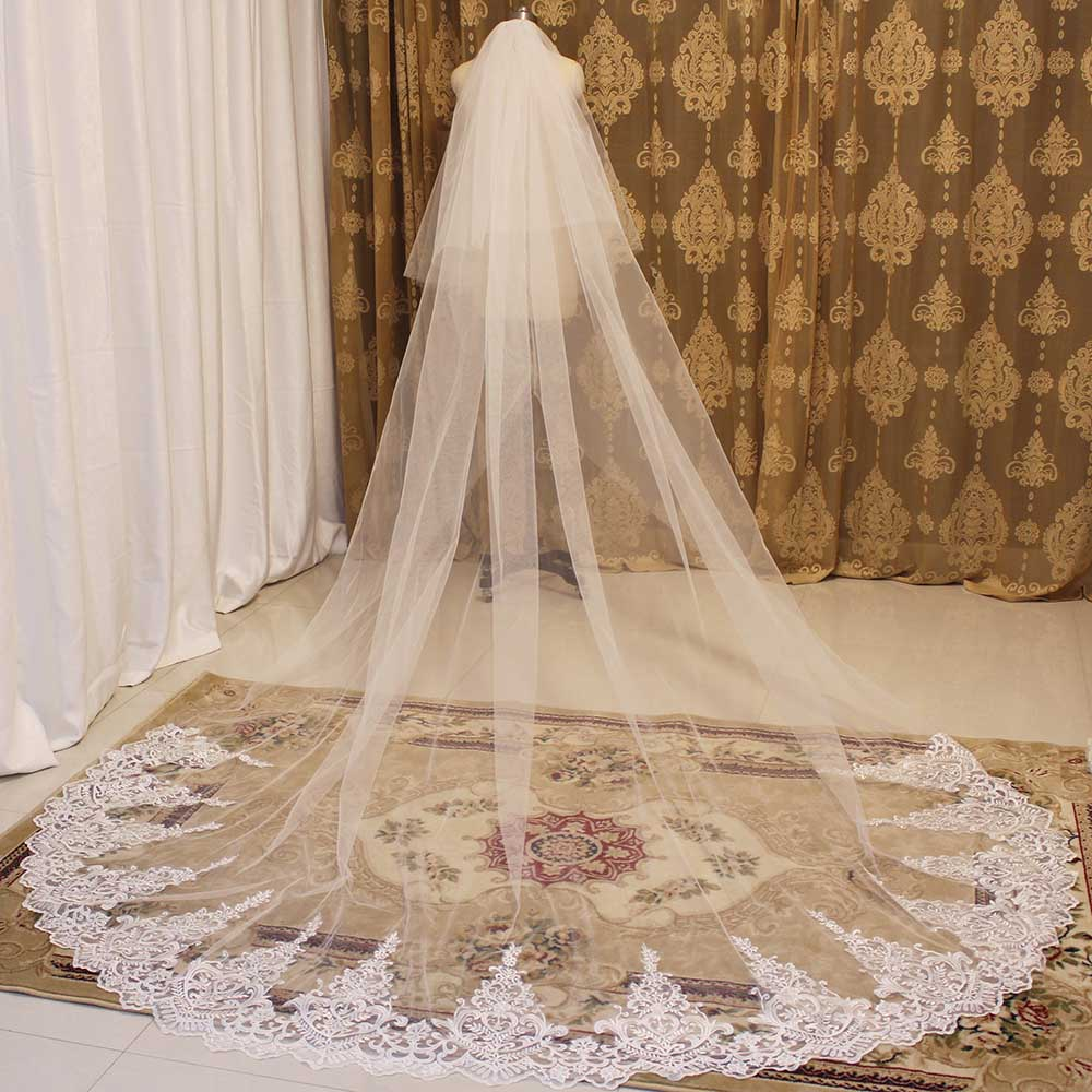 High Quality Cover Face Wedding Veil 2 Layers 3 Meters Bridal Veil With Comb 2T 3M Cathedral Veil Wedding Accessories