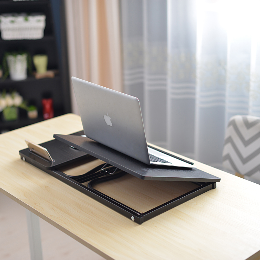 【US Warehouse】Folding Laptop Desk For Bed With Slot Adjustable Angle 79*36*27CM A1#2 Black Willow(Computer Desk Table)