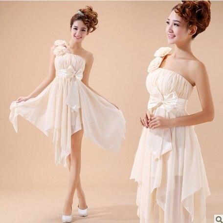 Free Shipping 2015 New Custom Vestido One Shoulder Bride Married Small Short Design Costume Handmade Flower Bow Bridesmaid Dress