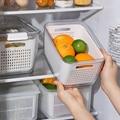 Кухонная коробка для хранения, холодильник, коробка для сохранения свежести, слив овощей и фруктов, многофункциональный пластиковый контей...