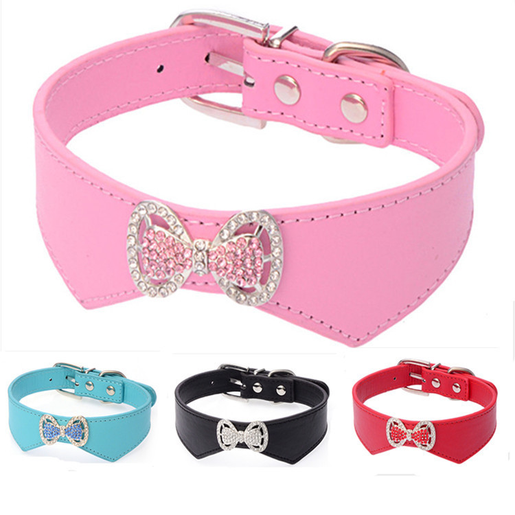 Hot Selling Man-made Diamond Dog Neck Ring Beautiful Colorful Crystals Bow Neck Ring Bite-proof Protector Pu Dog Chain Dog Colla
