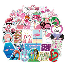 50pcs Cartoon Cute Pink Flamingos Stickers toy Waterproof Sticker For Suitcase Bike Guitar Laptop Box Refrigerator Children Toy(China)