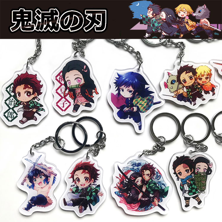 2019 Anime Keychain Cute Demon Slayer: Kimetsu No Yaiba Kamado Nezuko Cosplay Acrylic Keyring Phone Bag Pendant Fans Xmas Gifts