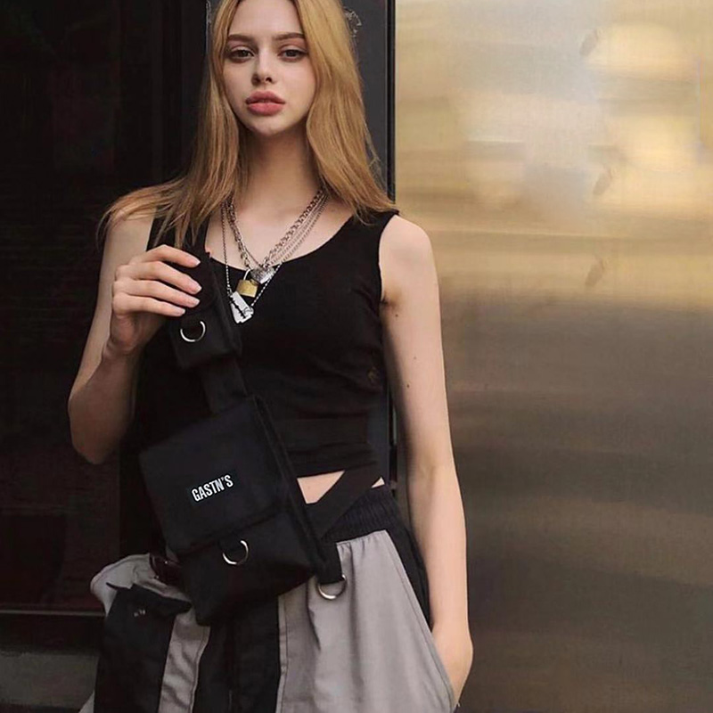Tactical Vest Waist Bag Men Women Hip Hop Chest Rig Waist Pack Adjustable Canvas Belt Bags Fashion Travel Fanny Pack Mini Purse