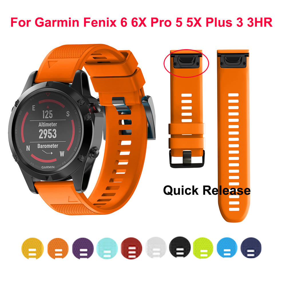 Sport Silicone Watchband Wriststrap For Garmin Fenix 6X 6 6S Pro 5X 5 5S Plus 3 HR 20 22mm Easy Fit Quick Release Wirstband 26mm