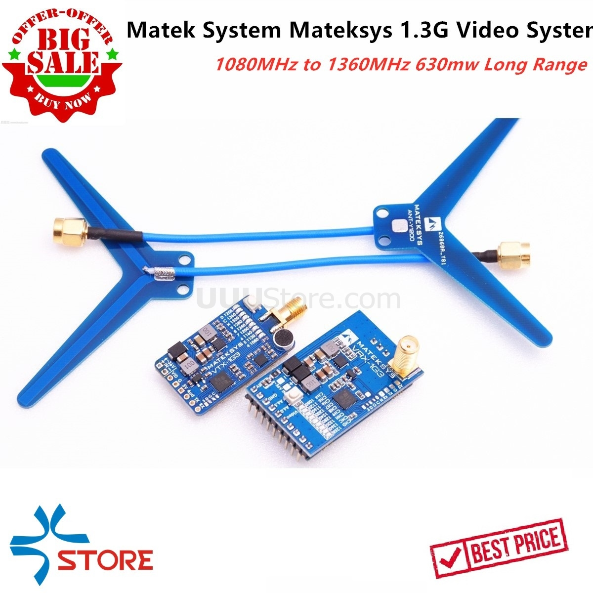 40KM Long Range Matek System Mateksys VRX-1G3 VTX-1G3 1.3GHz FPV 2CH-9CH 630mW Video Transmitter Wid Band Video Receiver