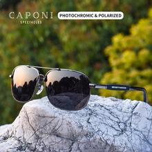Caponi Vierkante Gepolariseerde Zonnebril Vintage Alloy Brillen Voor Mannen Shades Voor Masculino Meekleurende Driving Goggles UV400 BS10001